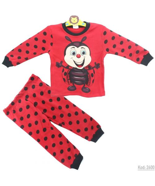 Baby's Ladybug Design Dotted Red Pajama Set