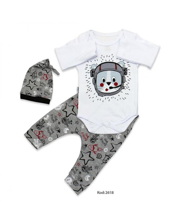 Baby's Printed White Grey 3 Pieces Outfit Set
