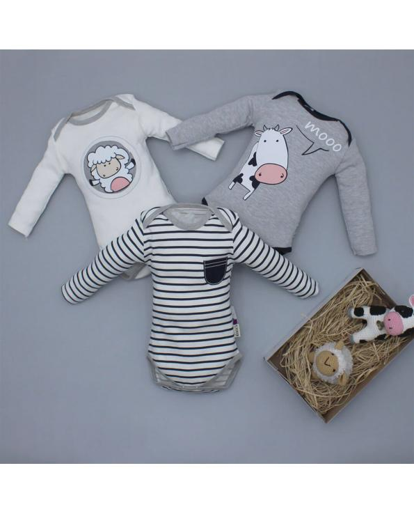 Baby's Striped Snapsuit Set - 3 Pieces
