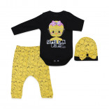 Baby's Printed Yellow Black 3 Pieces Outfit Set