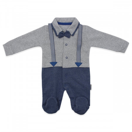 Baby Boy's Strappy Bow-tie Accessory Blue Grey Romper