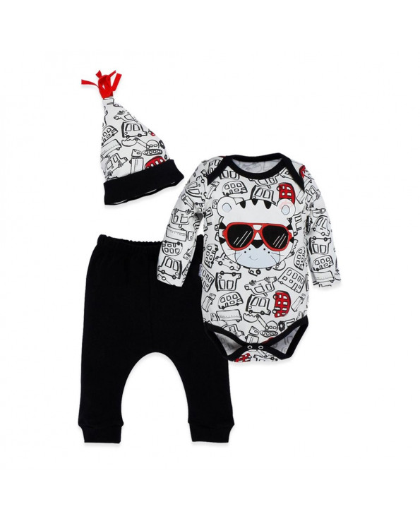 Baby's Printed 3 Pieces Outfit Set