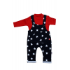 Baby's Star Print Navy Blue Overall& Red T-shirt Set