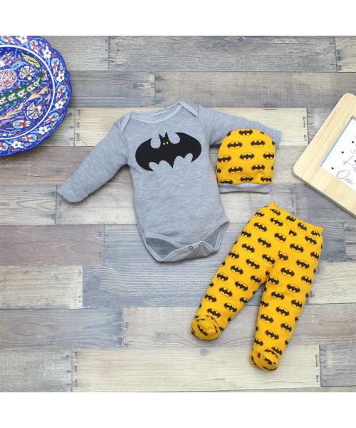 Baby Boy's Batman Print Snapsuit, Pajama Pants & Beanie Set