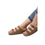Unisex Anatomical Natural Footbed Multi-Band Sand Beige Leather Slippers