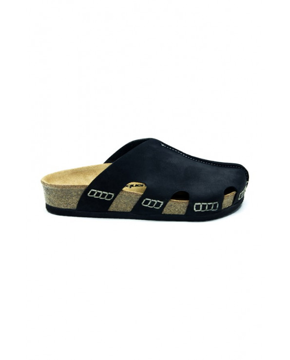 Unisex Anatomical Natural Footbed Black Leather Slippers