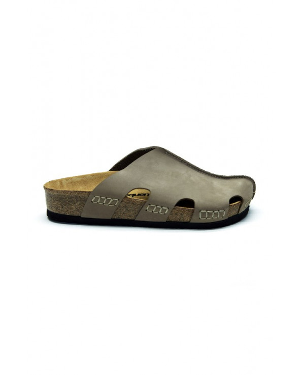 Unisex Anatomical Natural Footbed Beige Leather Slippers