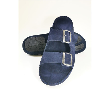 Men's Double Strap Navy Blue Leather Nubuck Slippers