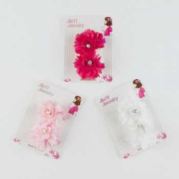 Girl's Gemmed Rose Tulle Hairpin