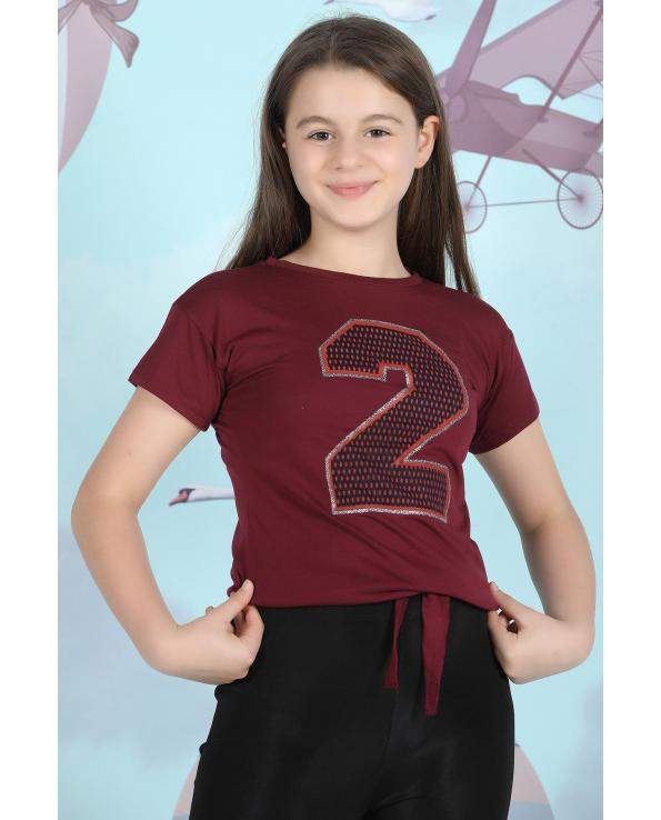 Girl's Tie Front Printed T-shirt