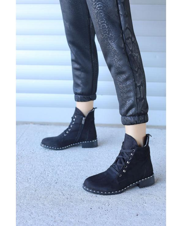 Women's Lace-up Side Zipped Boots