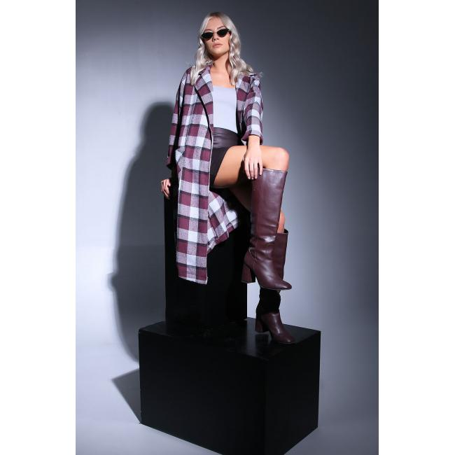 Women's Pocket Plaid Trenchcoat