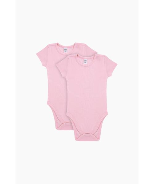 Baby Girl's Short Sleeves Powder Rose Cotton Snapsuit - 2 Pieces