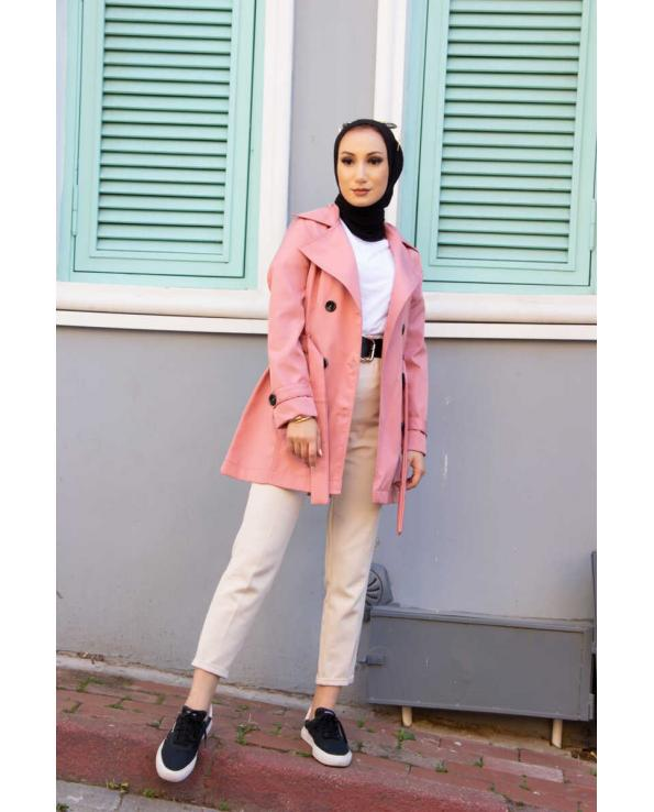 Women's Button Powder Rose Trenchcoat