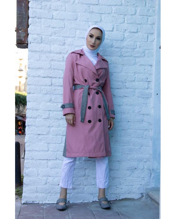Women's Button Pink Trenchcoat