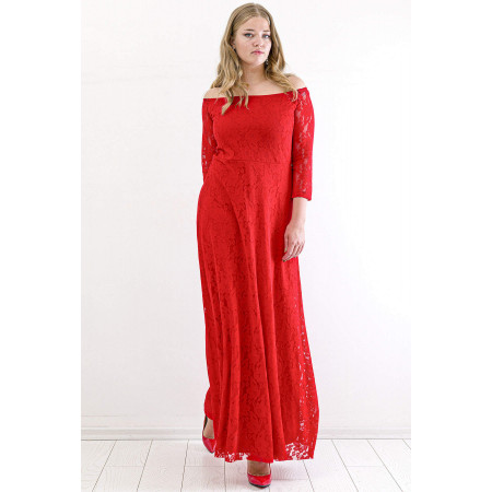 Women's Oversize Lace Detail Red Evening Dress