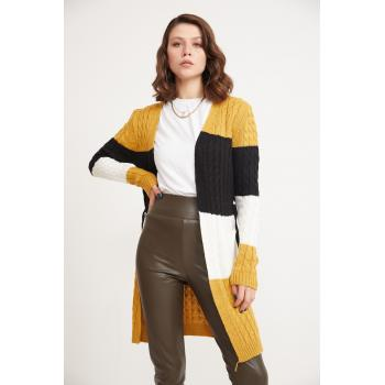 Women's Pocket Cable Knit Color Block Cardigan