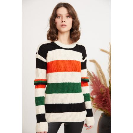Women's Sleeve Detail Multi-color Striped Tricot Sweater