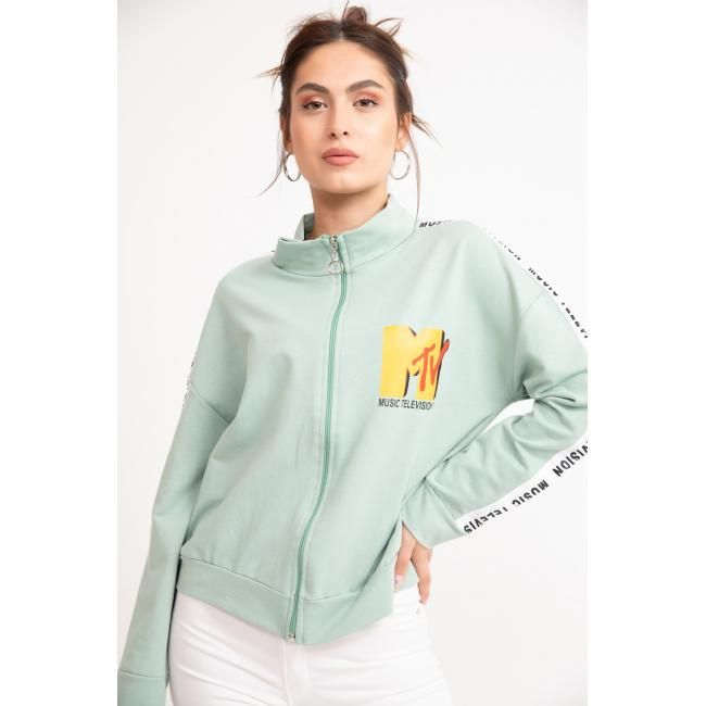 Women's Zipper Text Print Mint Green Sweatshirt