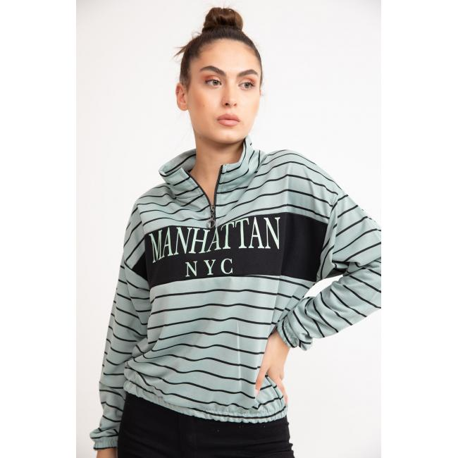 Women's Zip Collar Text Print Striped Mint Green Sweatshirt