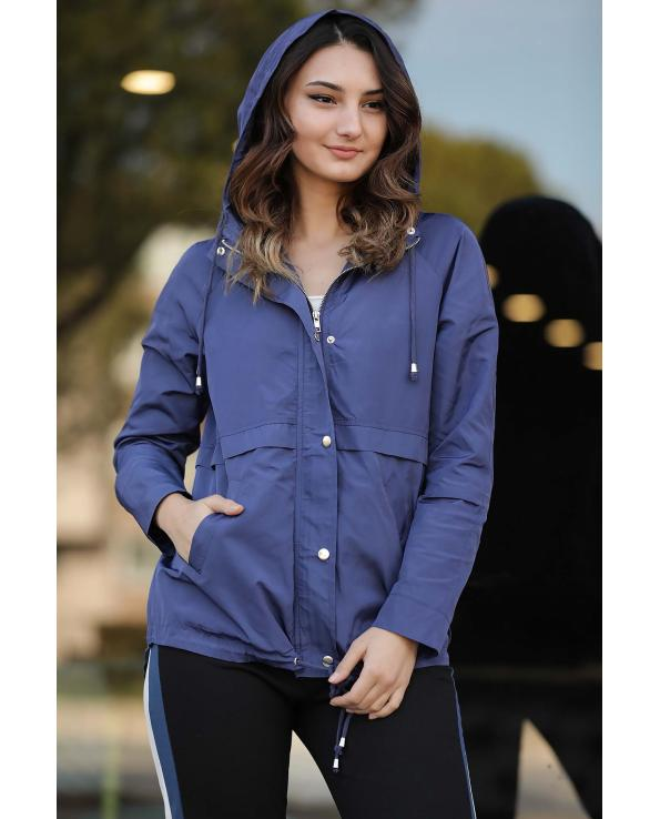 Women's Hooded Indigo Jacket & Coat