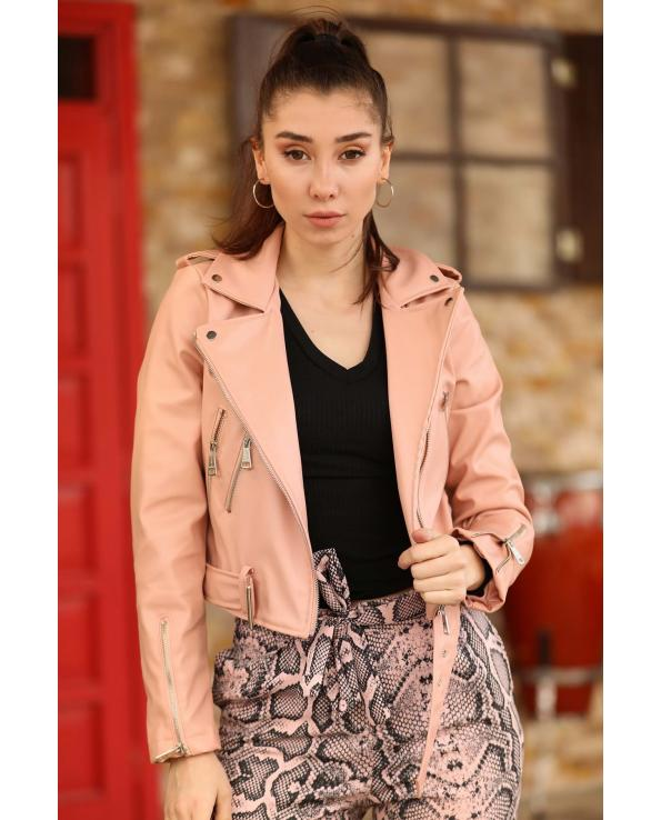 Belted Powder Rose Artificial Leather Jacket