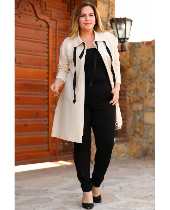 Women's Oversize Zipped Cream Jacket