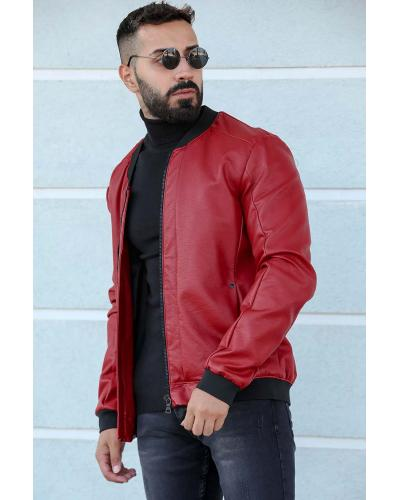 Men's Zipped Red Leather Jacket