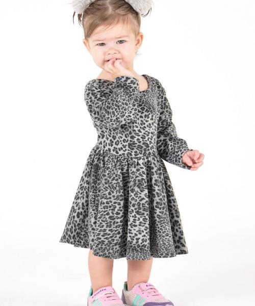 Baby Girl's Leopard Pattern Black-Grey Dress