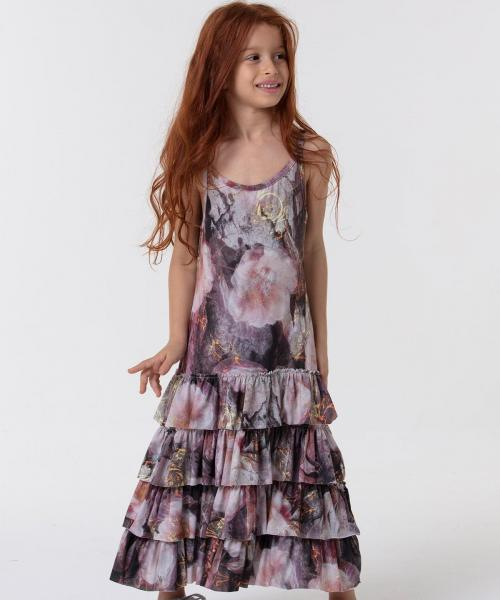 Girl's Ruffle Hem Floral Pattern Dress