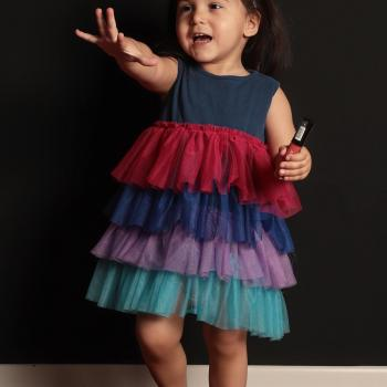 Baby Girl's Multi-color Tulle Hem Indigo Dress
