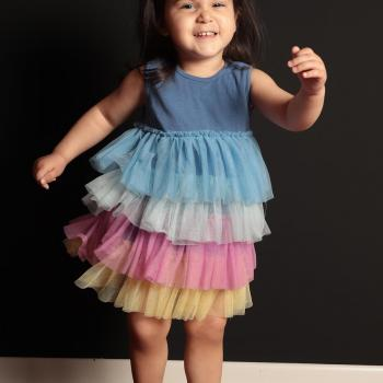 Baby Girl's Multi-color Tulle Hem Blue Dress