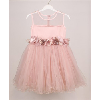Girl's Pearl Powder Rose Evening Dress- Ages 4-8