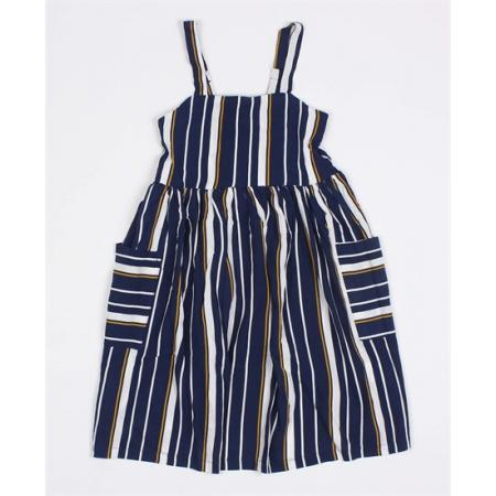Ages 8-16 Girl's Striped Navy Blue Summer Dress