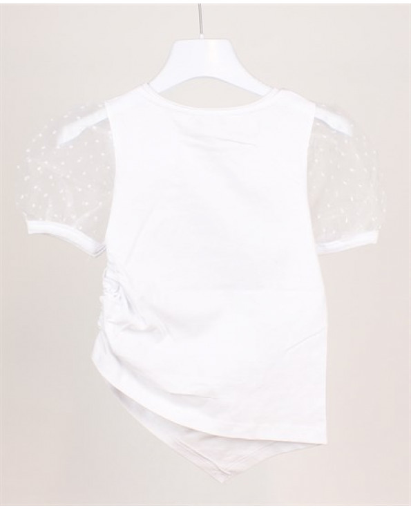 Girl's Tulle Sleeves Printed T-shirt- Ages 4-16