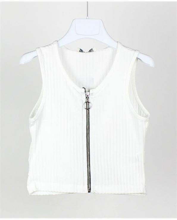 Girl's Zipped White Blouse- Ages 4-16