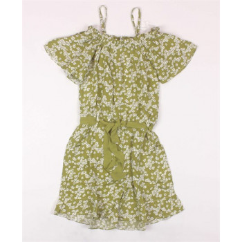 Girl's Floral Pattern Green Overall/ Dress (Ages 4-16)