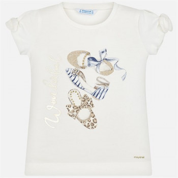 Girl's Printed White T-shirt- Ages 3-9