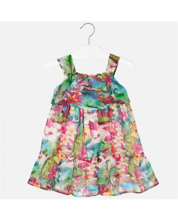 Girl's Floral Print Chiffon Dress- Ages 3-9