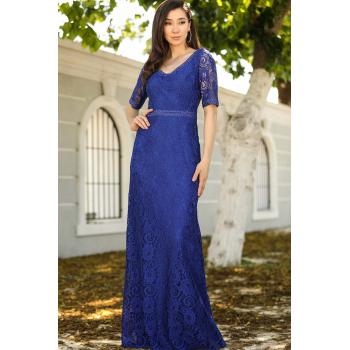 Women's Gem Embroidered Saxe Evening Dress