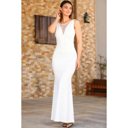 Women's Gemmed Fish Model White Evening Dress