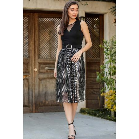 Women's Belted Silver Sequin Hem Black Short Evening Dress