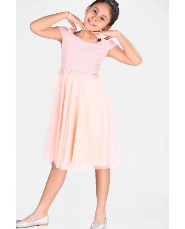 Girl's Powder Rose Evening Gown