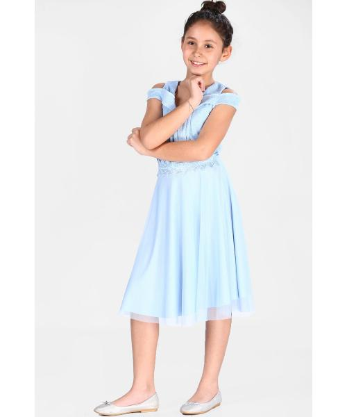 Young Girl's Tulle Detail Blue Dress