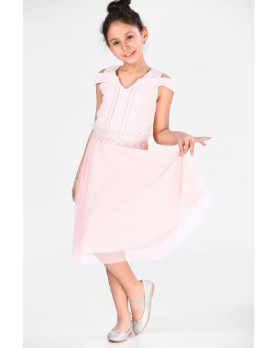 Girl's Silvery Powder Rose Evening Dress