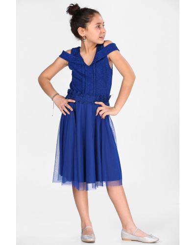 Girl's Silvery Saxe Evening Gown