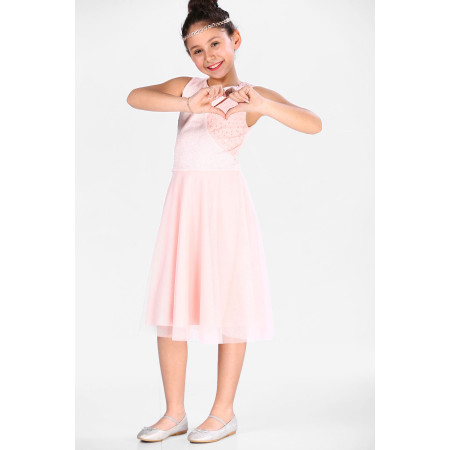 Girl's Pearled Powder Rose Evening Dress