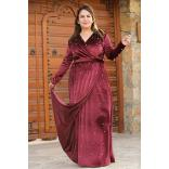Oversize Pearl Embroidered Claret Red Velvet Evening Gown