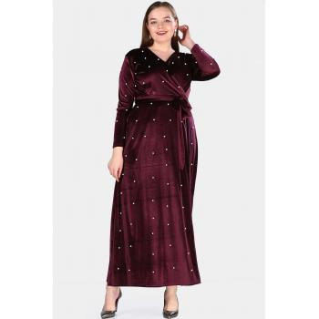 Oversize Pearled Damson Evening Dress