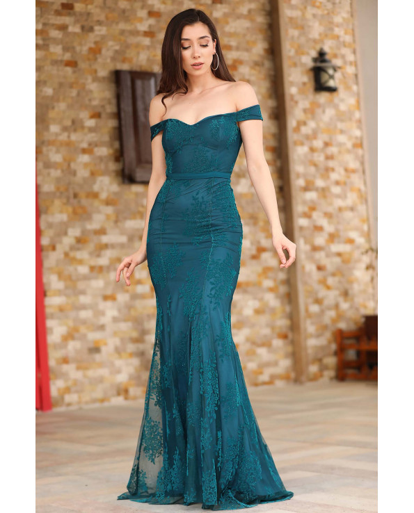 Boat Neck Petrol Blue Evening Dress